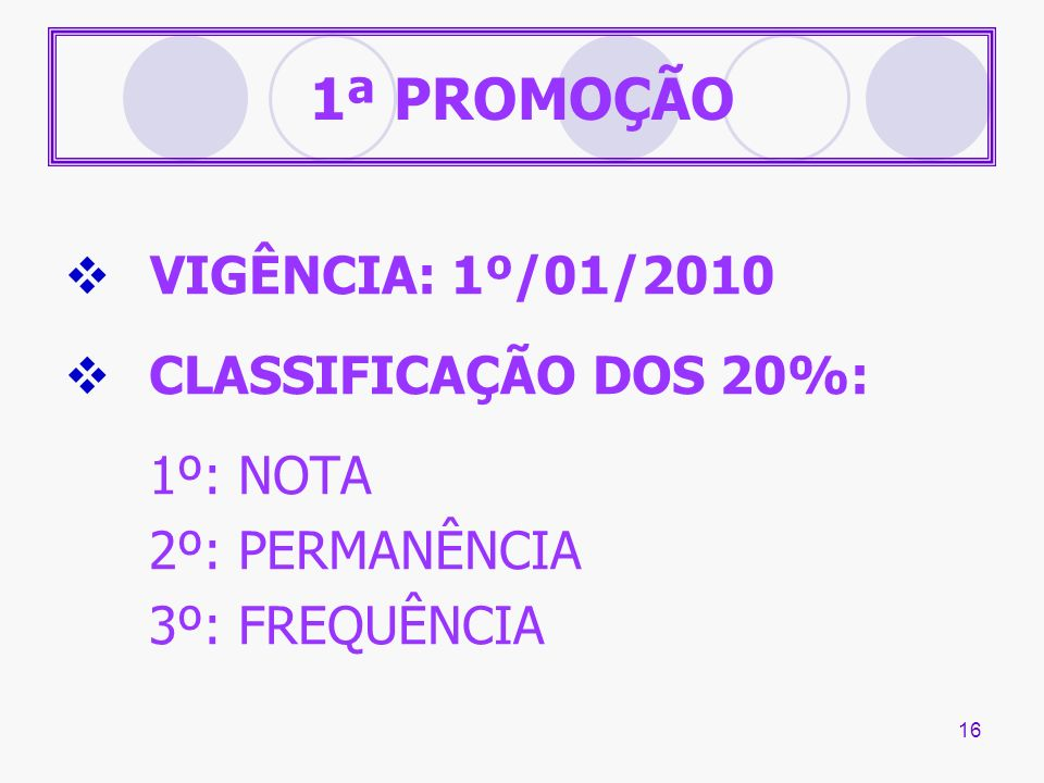1ª PROMOÇÃO VIGÊNCIA: 1º/01/2010 CLASSIFICAÇÃO DOS 20%: 1º: NOTA