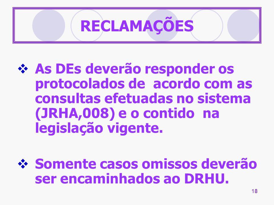 RECLAMAÇÕES As DEs deverão responder os protocolados de acordo com as consultas efetuadas no sistema (JRHA,008) e o contido na legislação vigente.