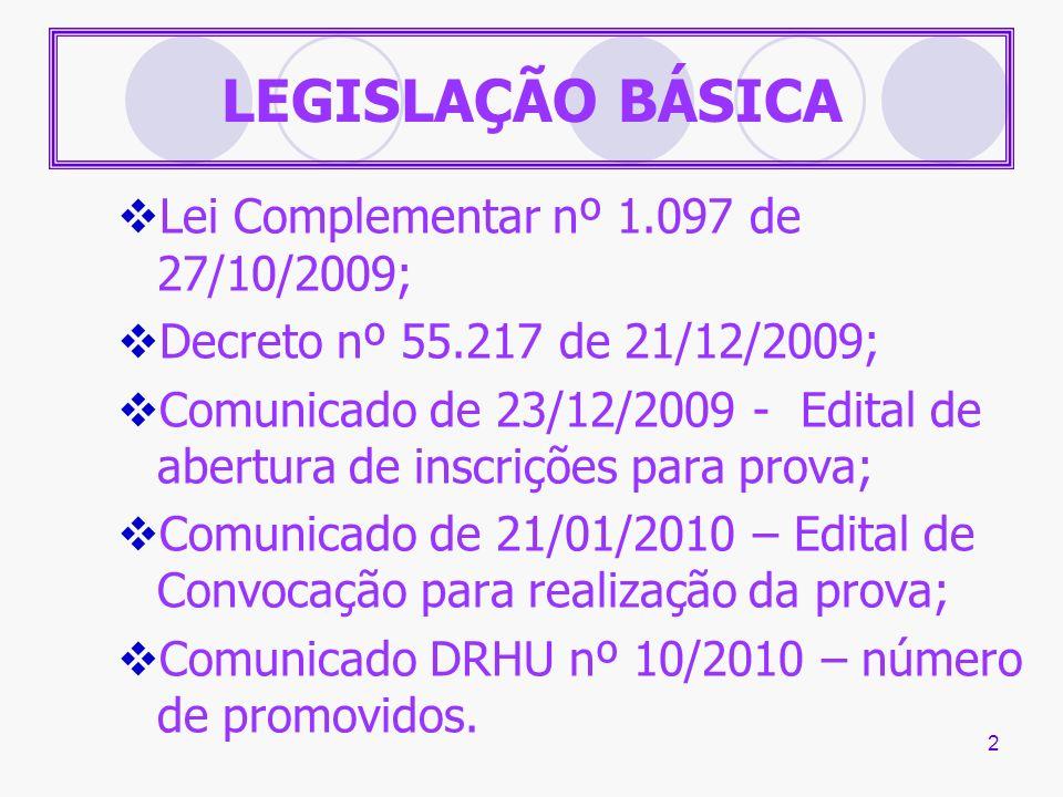 LEGISLAÇÃO BÁSICA Lei Complementar nº 1.097 de 27/10/2009;