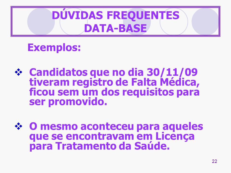 DÚVIDAS FREQUENTES DATA-BASE