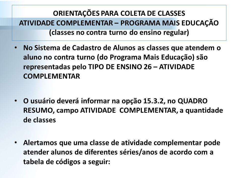 ORIENTAÇÕES PARA COLETA DE CLASSES ATIVIDADE COMPLEMENTAR – PROGRAMA MAIS EDUCAÇÃO (classes no contra turno do ensino regular)