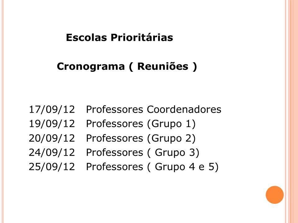 Escolas Prioritárias Cronograma ( Reuniões ) 17/09/12 Professores Coordenadores. 19/09/12 Professores (Grupo 1)