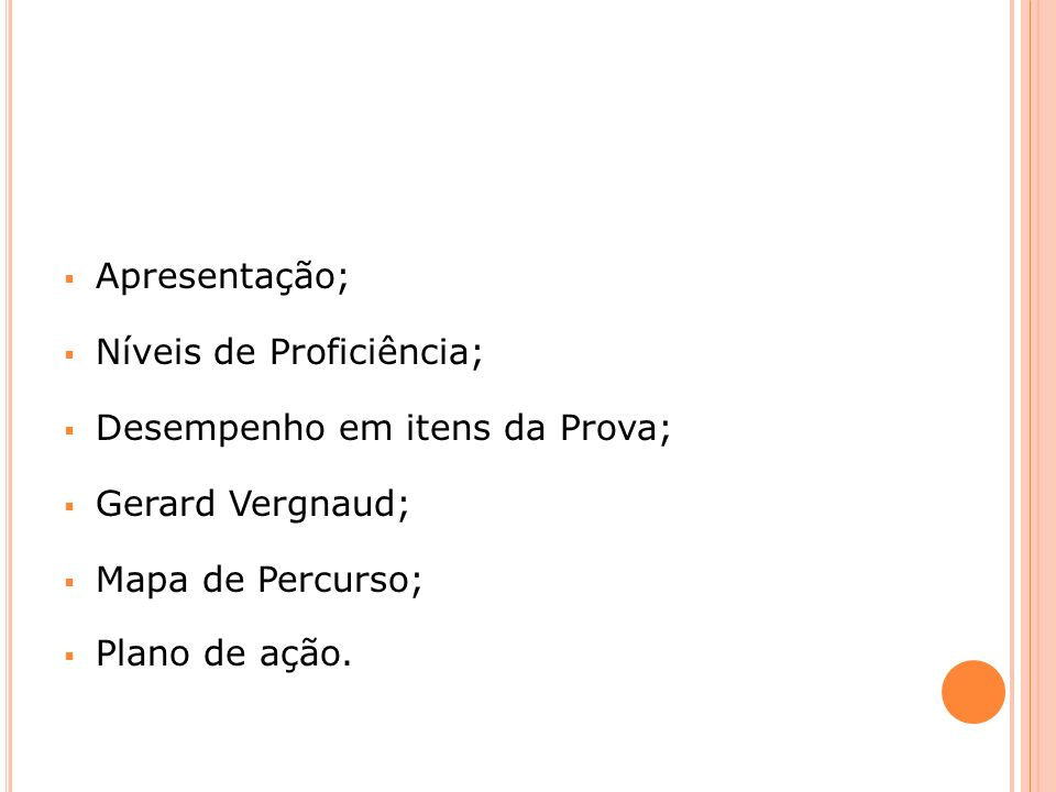 Apresentação; Níveis de Proficiência; Desempenho em itens da Prova; Gerard Vergnaud; Mapa de Percurso;