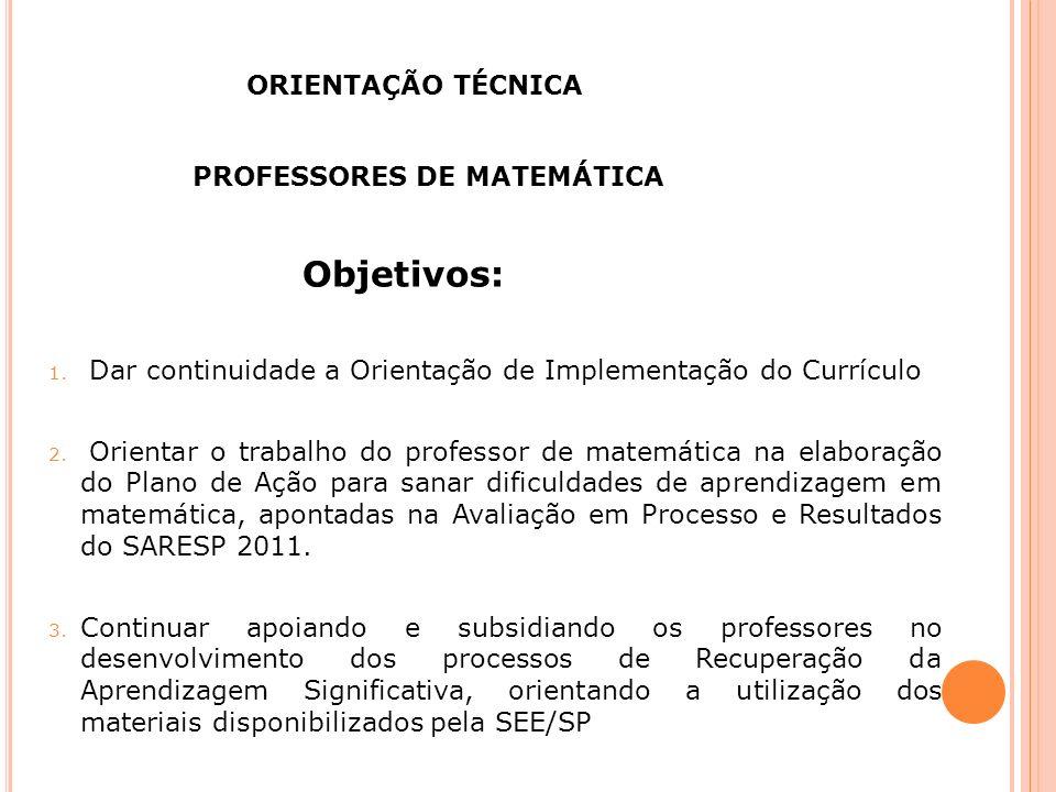 Objetivos: ORIENTAÇÃO TÉCNICA PROFESSORES DE MATEMÁTICA