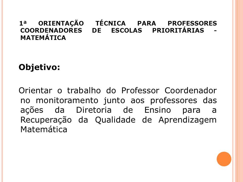 1ª ORIENTAÇÃO TÉCNICA PARA PROFESSORES COORDENADORES DE ESCOLAS PRIORITÁRIAS - MATEMÁTICA