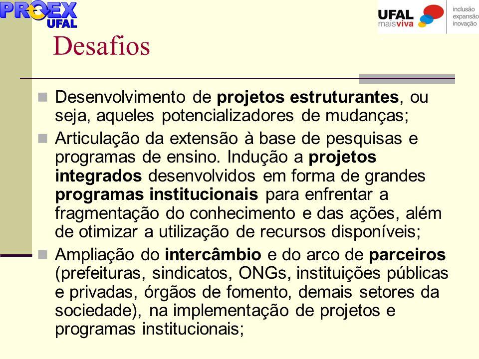 Desafios Desenvolvimento de projetos estruturantes, ou seja, aqueles potencializadores de mudanças;
