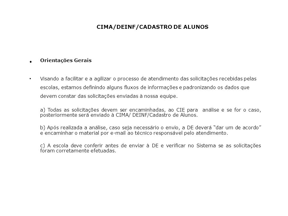 CIMA/DEINF/CADASTRO DE ALUNOS