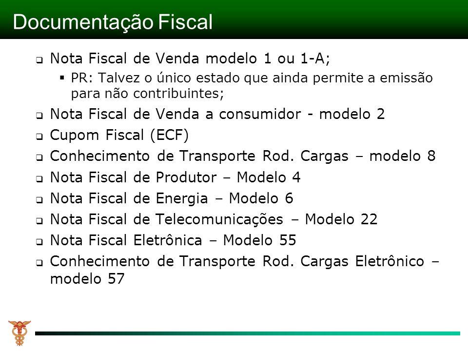 Documentação Fiscal Nota Fiscal de Venda modelo 1 ou 1-A;