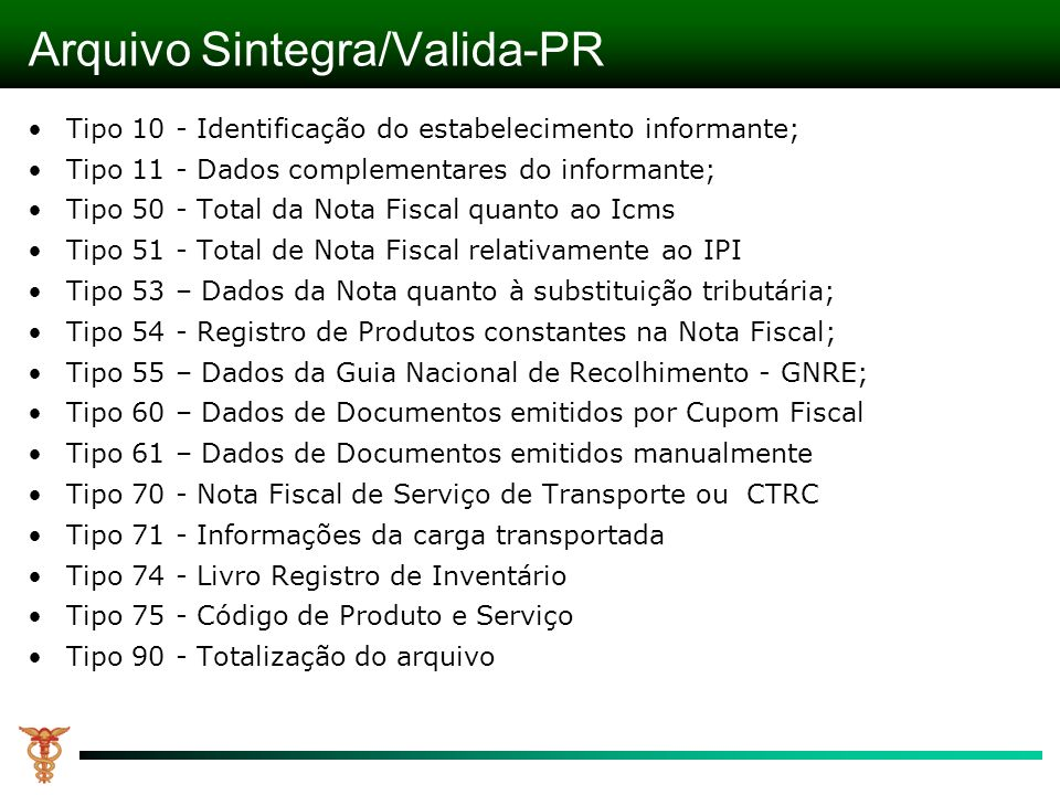 Arquivo Sintegra/Valida-PR