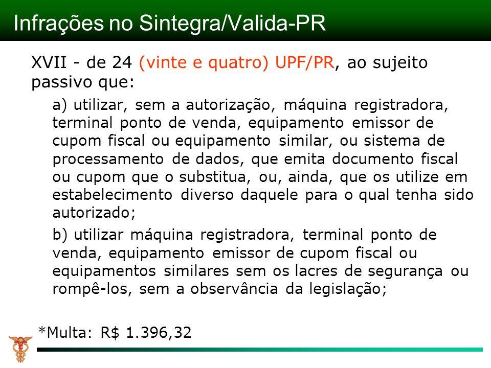 Infrações no Sintegra/Valida-PR