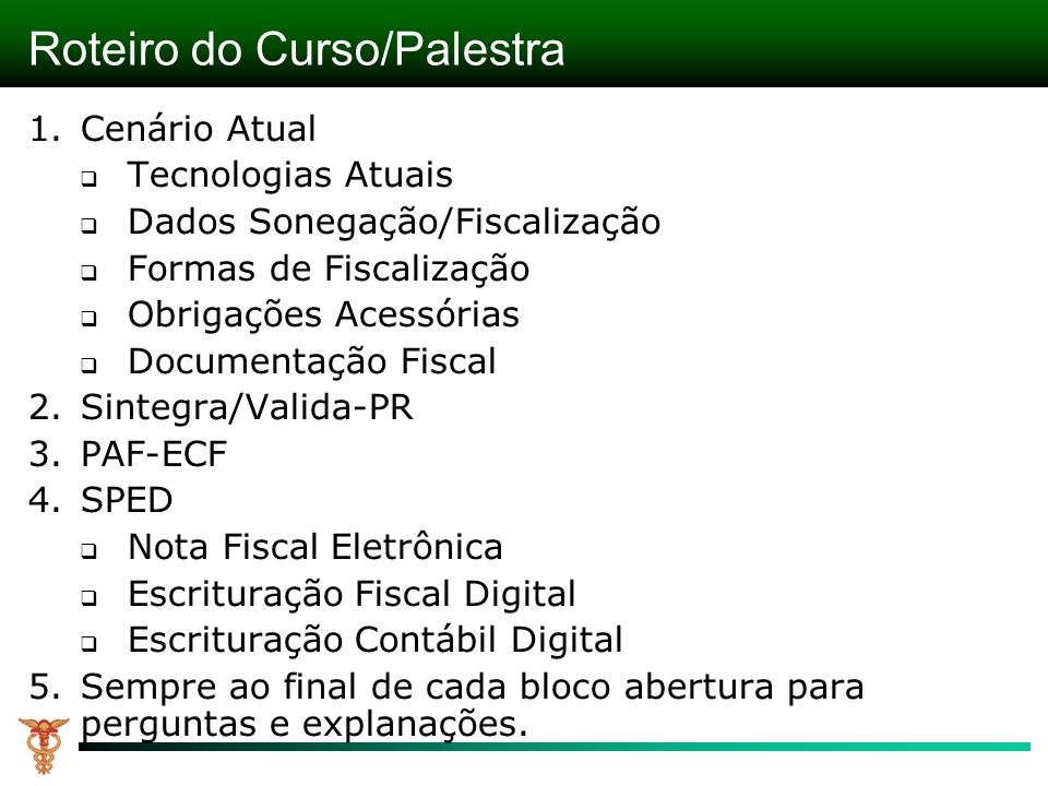 Roteiro do Curso/Palestra