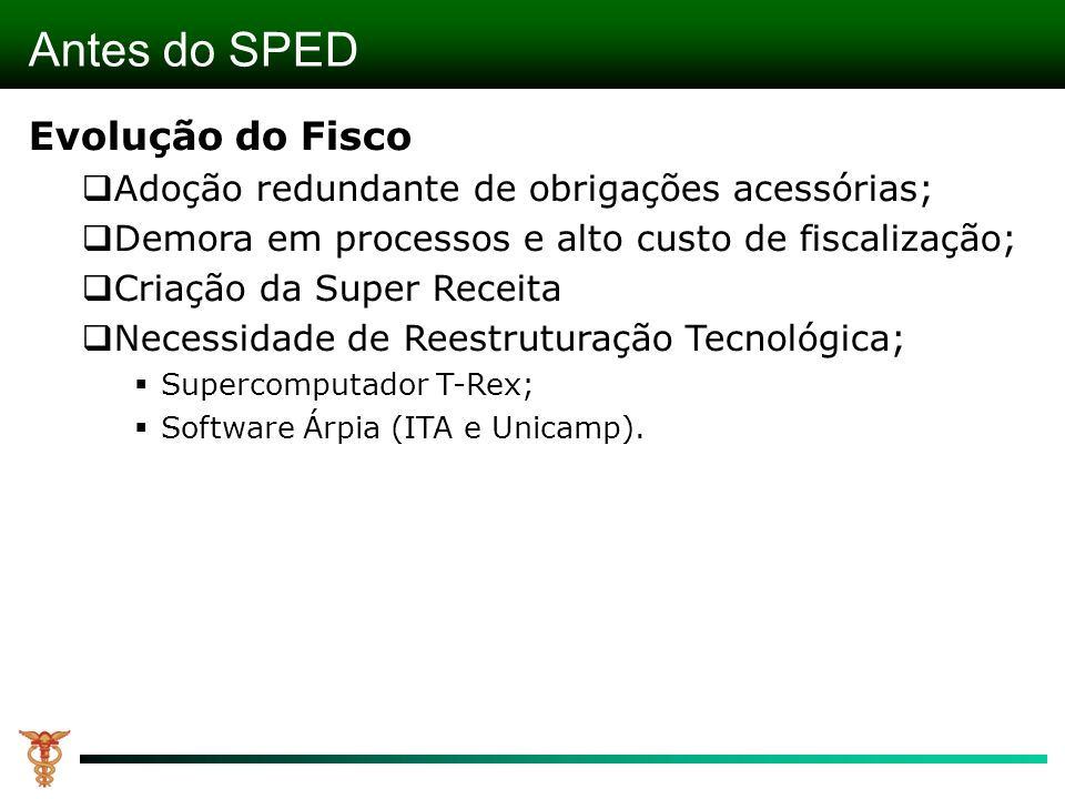 Antes do SPED Evolução do Fisco