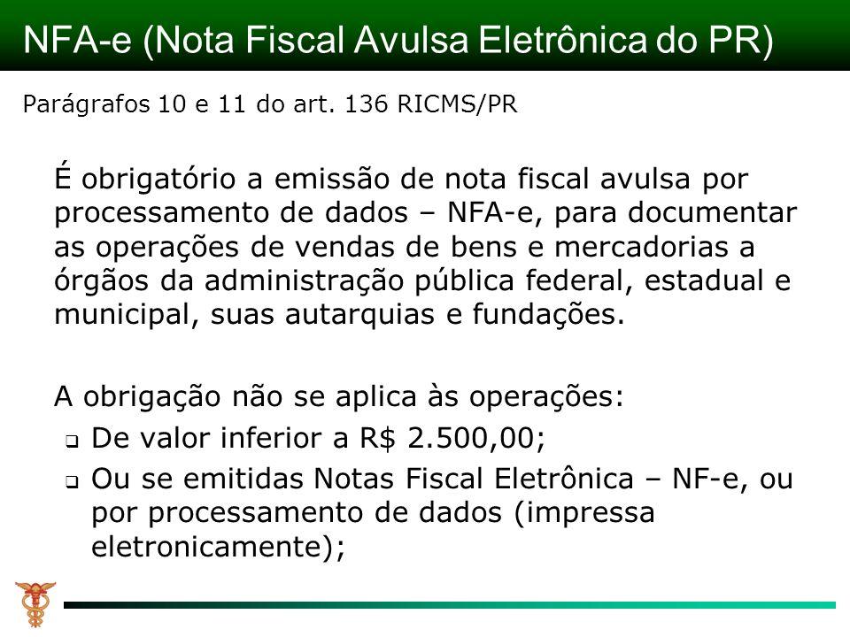 NFA-e (Nota Fiscal Avulsa Eletrônica do PR)