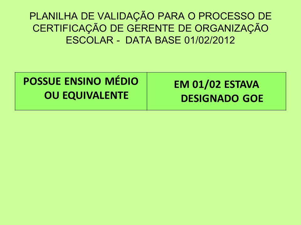 POSSUE ENSINO MÉDIO OU EQUIVALENTE EM 01/02 ESTAVA DESIGNADO GOE