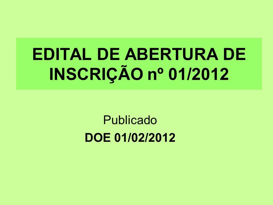 EDITAL DE ABERTURA DE INSCRIÇÃO nº 01/2012