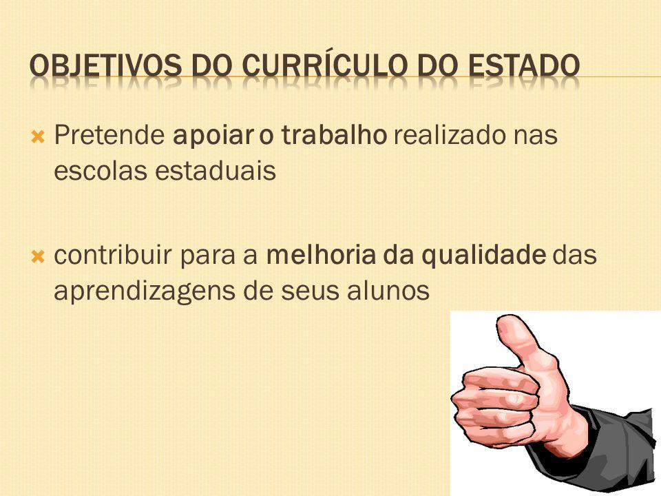 OBJETIVOS DO CURRÍCULO DO ESTADO