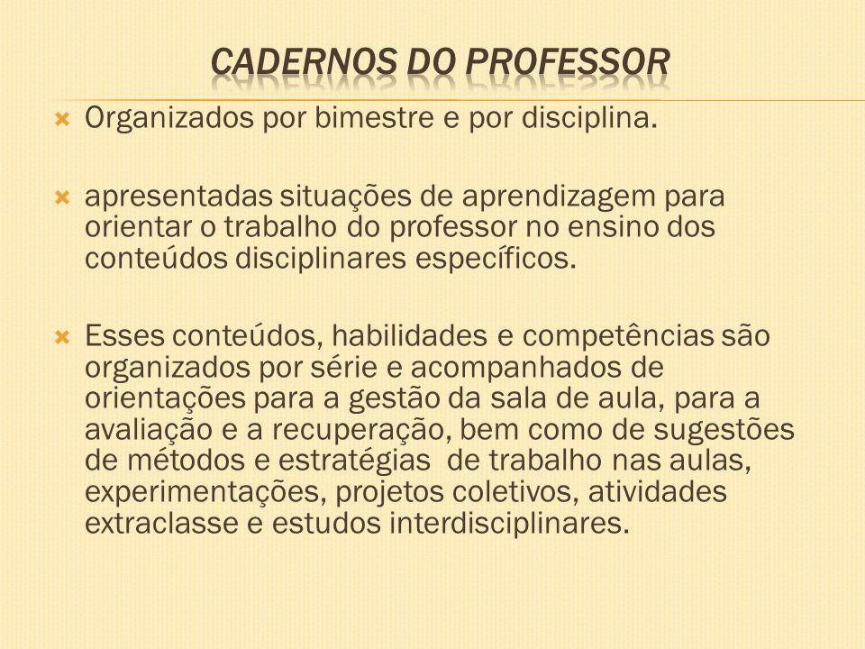 Cadernos do Professor Organizados por bimestre e por disciplina.