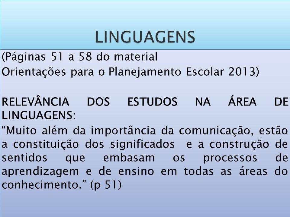 LINGUAGENS (Páginas 51 a 58 do material