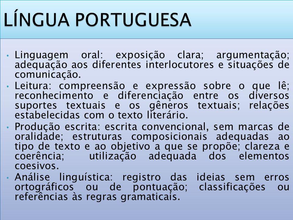 LÍNGUA PORTUGUESA Linguagem oral: exposição clara; argumentação; adequação aos diferentes interlocutores e situações de comunicação.