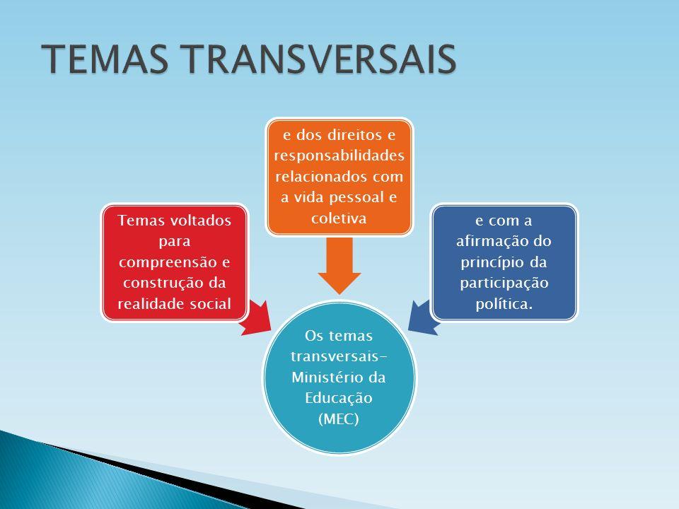 TEMAS TRANSVERSAIS Os temas transversais- Ministério da Educação (MEC)