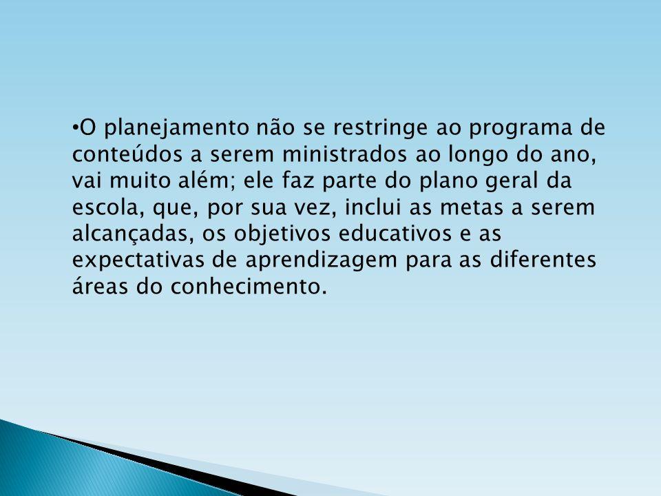 O planejamento não se restringe ao programa de conteúdos a serem ministrados ao longo do ano, vai muito além; ele faz parte do plano geral da escola, que, por sua vez, inclui as metas a serem alcançadas, os objetivos educativos e as expectativas de aprendizagem para as diferentes áreas do conhecimento.