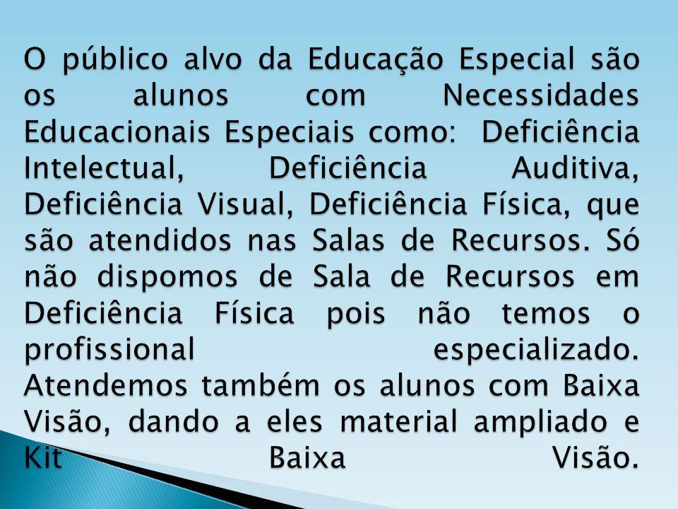 O público alvo da Educação Especial são os alunos com Necessidades Educacionais Especiais como: Deficiência Intelectual, Deficiência Auditiva, Deficiência Visual, Deficiência Física, que são atendidos nas Salas de Recursos.