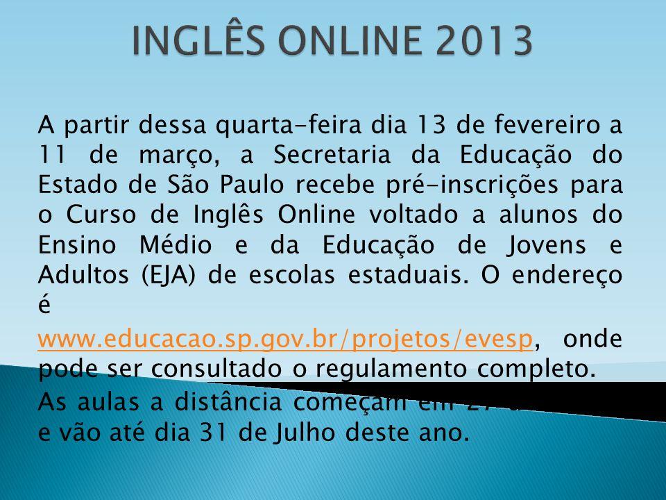 INGLÊS ONLINE 2013