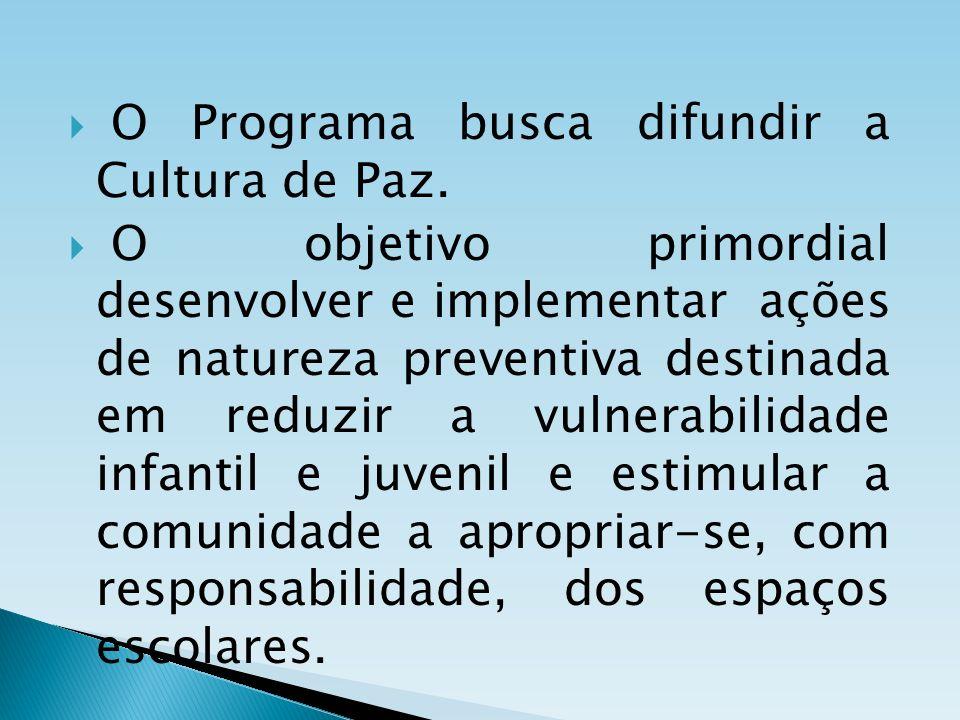 O Programa busca difundir a Cultura de Paz.