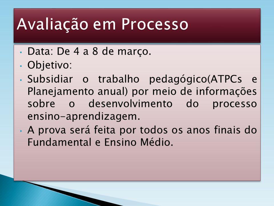 Avaliação em Processo Data: De 4 a 8 de março. Objetivo: