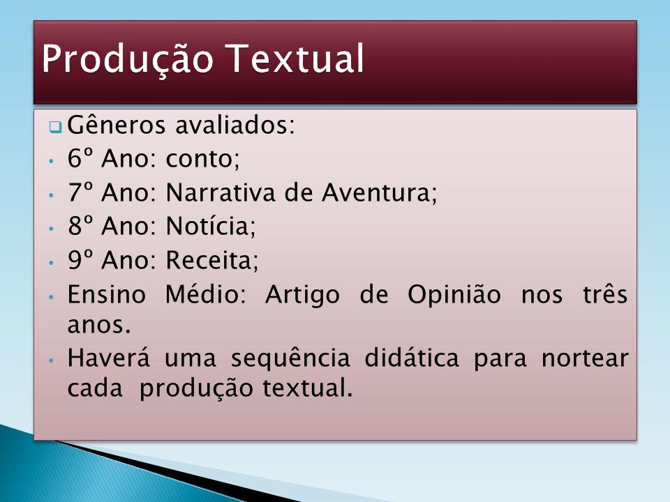 Produção Textual Gêneros avaliados: 6º Ano: conto;