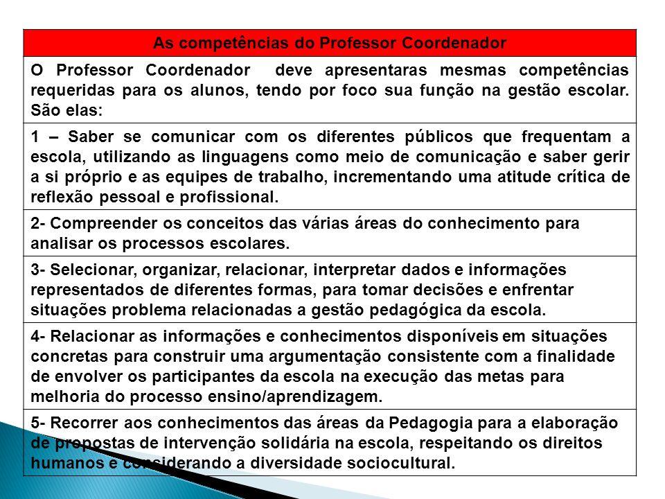 As competências do Professor Coordenador