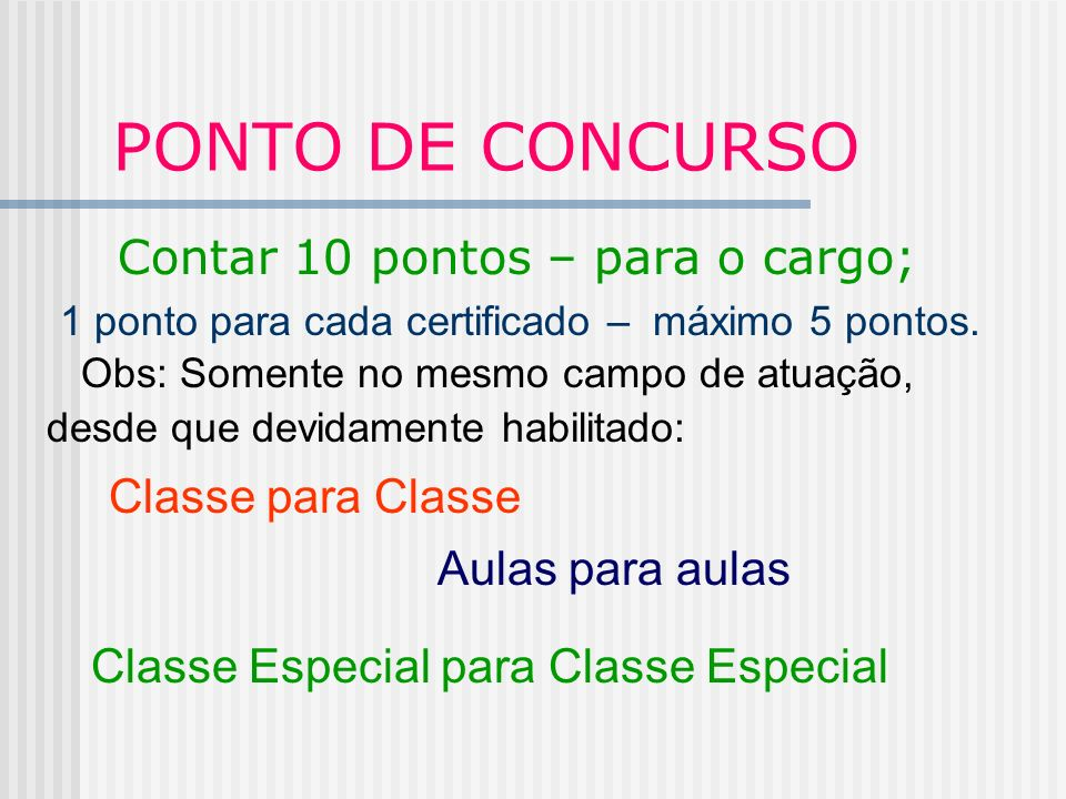 PONTO DE CONCURSO Contar 10 pontos – para o cargo;