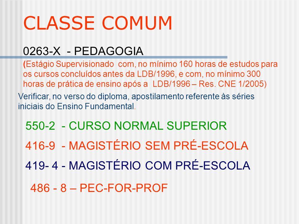 CLASSE COMUM 0263-X - PEDAGOGIA 550-2 - CURSO NORMAL SUPERIOR