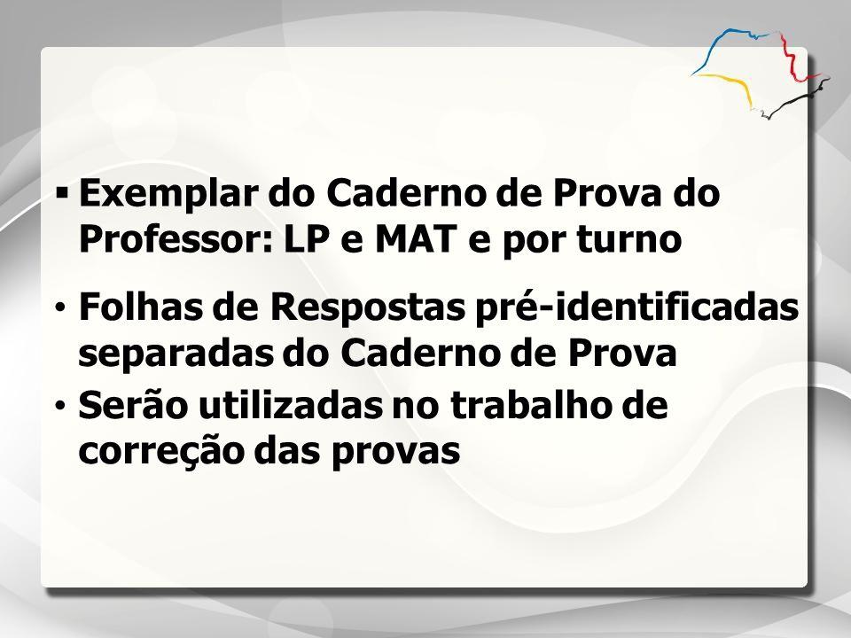 Exemplar do Caderno de Prova do Professor: LP e MAT e por turno