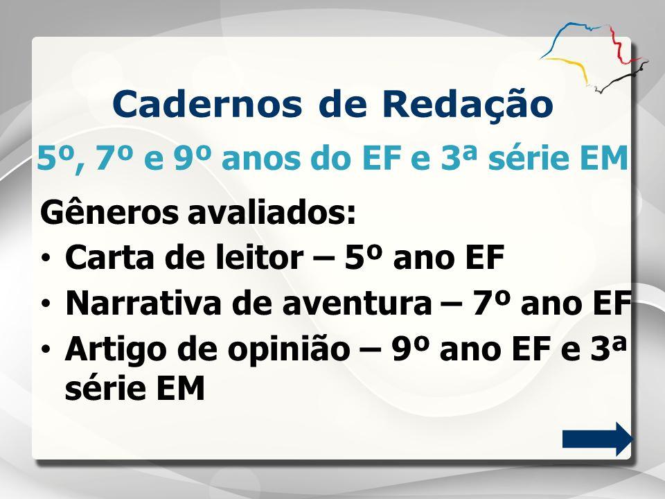 5º, 7º e 9º anos do EF e 3ª série EM