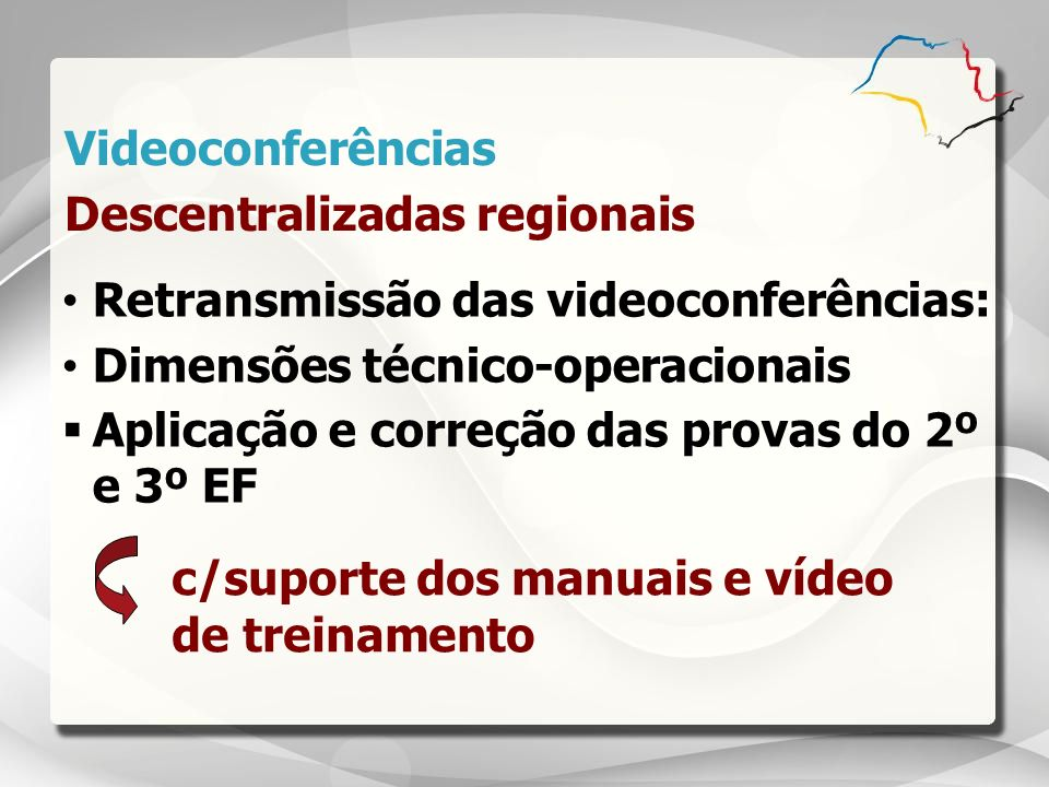 Videoconferências Descentralizadas regionais. Retransmissão das videoconferências: Dimensões técnico-operacionais.