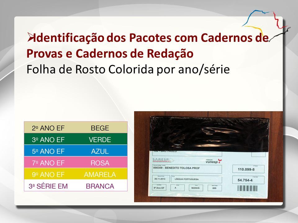 Identificação dos Pacotes com Cadernos de Provas e Cadernos de Redação