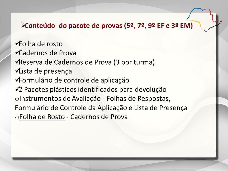 Conteúdo do pacote de provas (5º, 7º, 9º EF e 3ª EM)