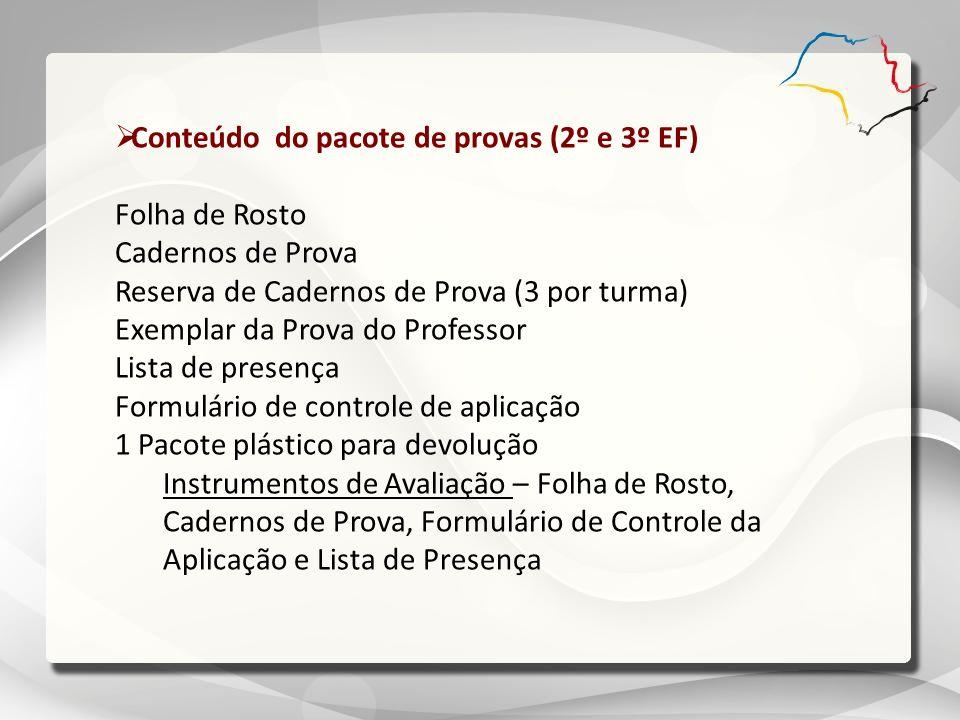 Conteúdo do pacote de provas (2º e 3º EF)