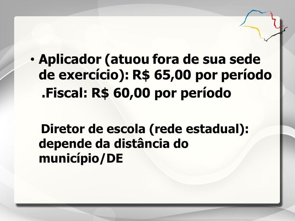 Aplicador (atuou fora de sua sede de exercício): R$ 65,00 por período