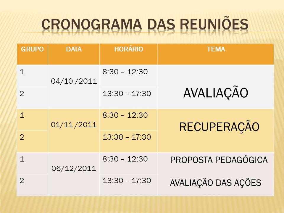 CRONOGRAMA DAS REUNIÕES
