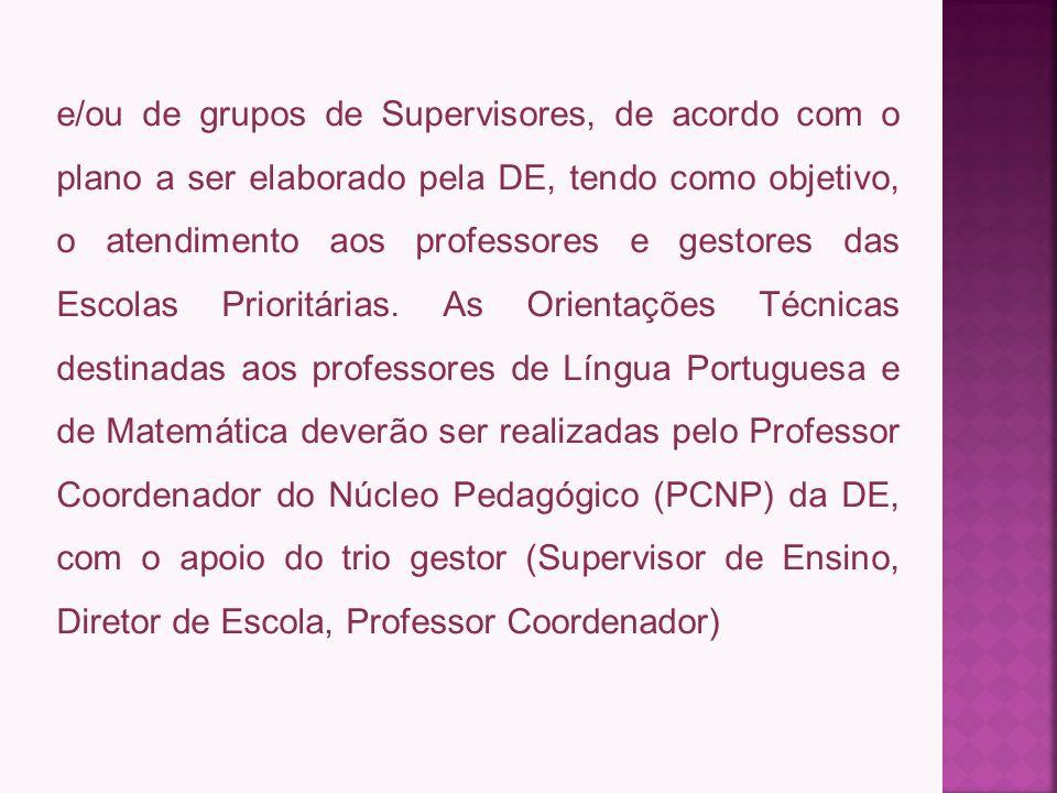 e/ou de grupos de Supervisores, de acordo com o plano a ser elaborado pela DE, tendo como objetivo, o atendimento aos professores e gestores das Escolas Prioritárias.