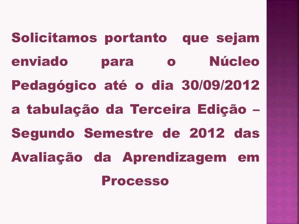 Solicitamos portanto que sejam enviado para o Núcleo Pedagógico até o dia 30/09/2012 a tabulação da Terceira Edição – Segundo Semestre de 2012 das Avaliação da Aprendizagem em Processo
