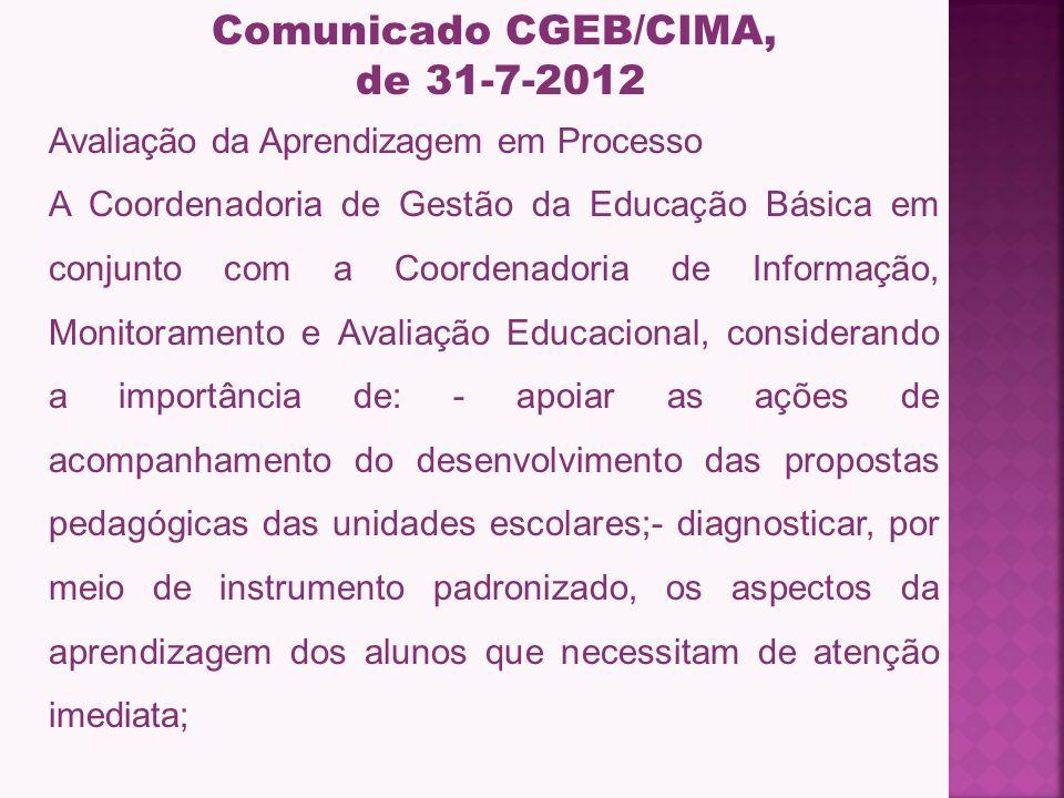 Comunicado CGEB/CIMA, de 31-7-2012
