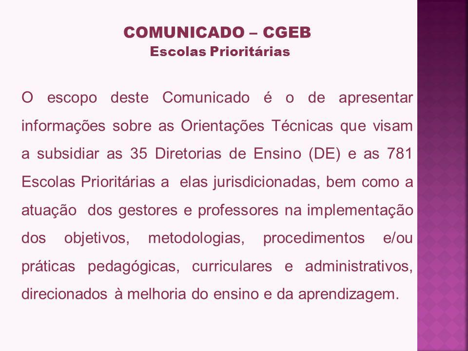 COMUNICADO – CGEB Escolas Prioritárias.