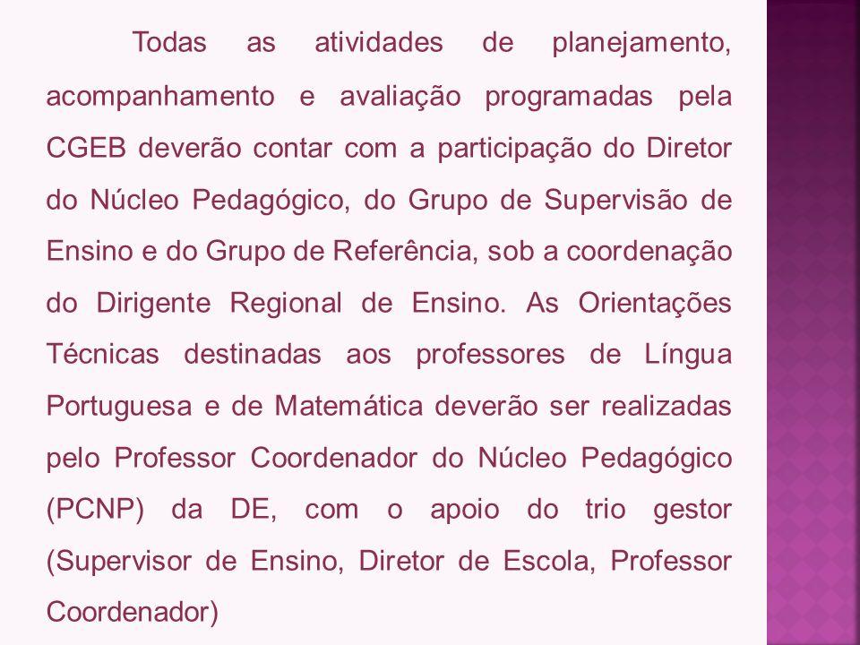 Todas as atividades de planejamento, acompanhamento e avaliação programadas pela CGEB deverão contar com a participação do Diretor do Núcleo Pedagógico, do Grupo de Supervisão de Ensino e do Grupo de Referência, sob a coordenação do Dirigente Regional de Ensino.