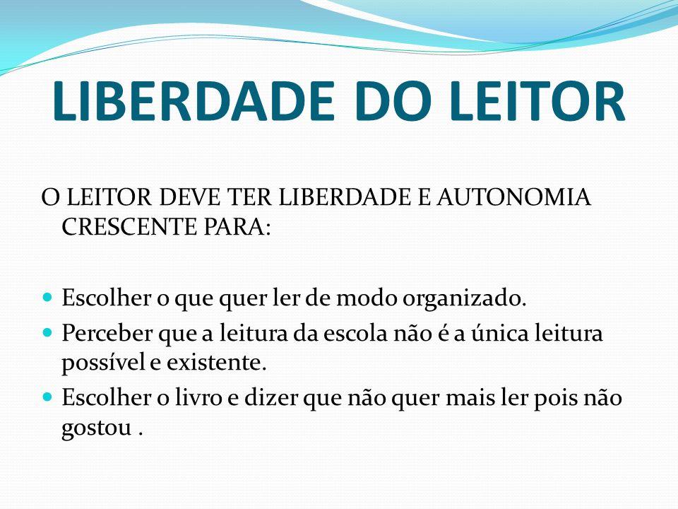 LIBERDADE DO LEITORO LEITOR DEVE TER LIBERDADE E AUTONOMIA CRESCENTE PARA: Escolher o que quer ler de modo organizado.