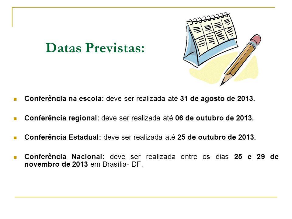Datas Previstas: Conferência na escola: deve ser realizada até 31 de agosto de 2013.