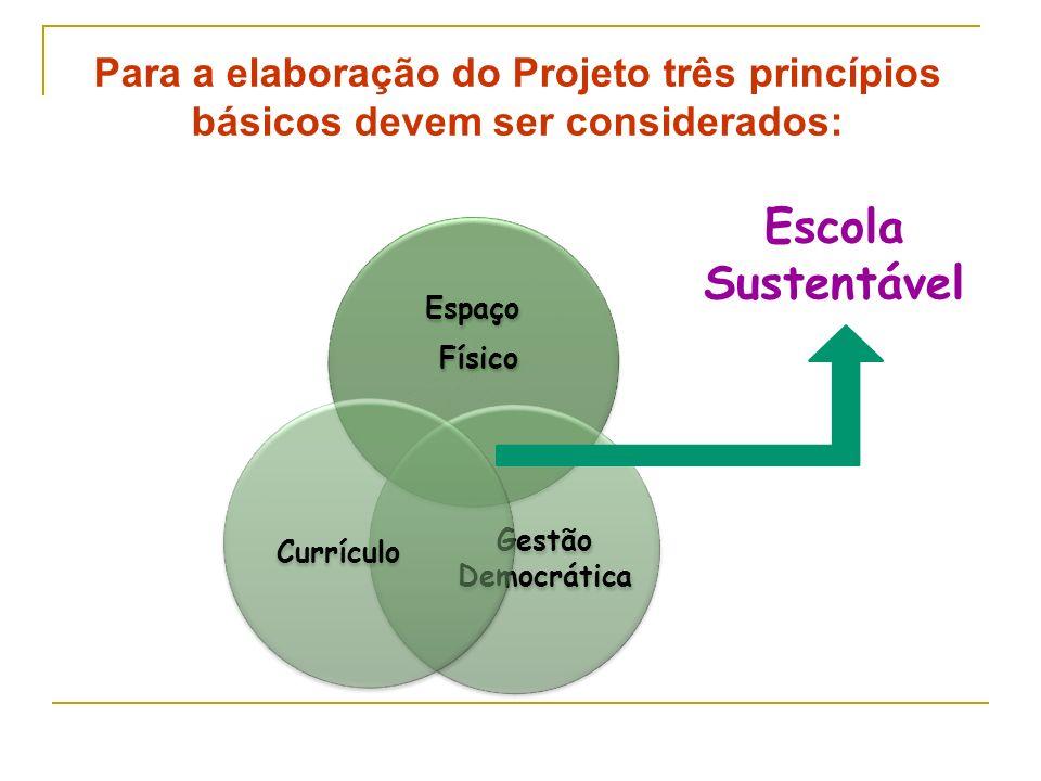 Para a elaboração do Projeto três princípios básicos devem ser considerados: