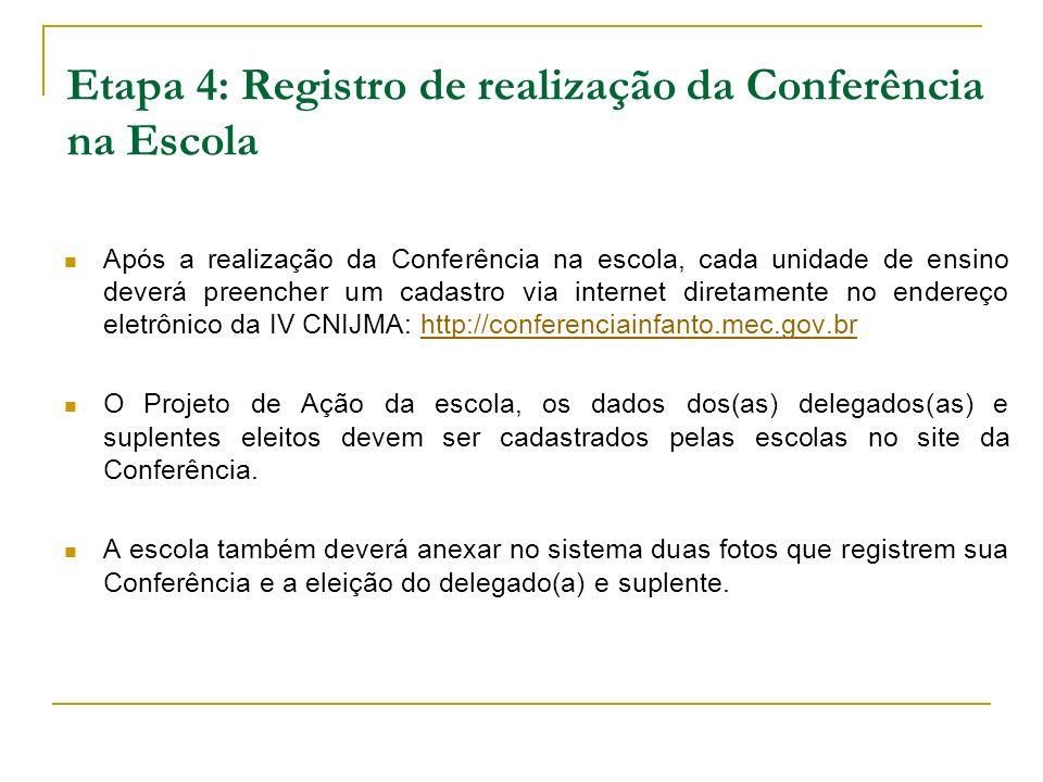 Etapa 4: Registro de realização da Conferência na Escola